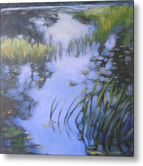 Landscape Metal Print featuring the painting On Calm Reflection by Mary Brooking