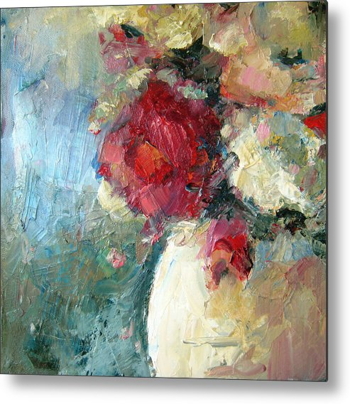 Flower Metal Print featuring the painting One Red Rose by Sharleen Boaden