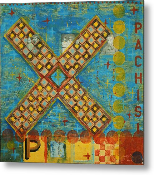 Games Metal Print featuring the painting Pachisi by Judy Anderson