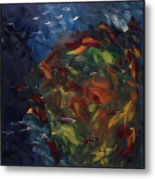 Abstract Metal Print featuring the painting Passer Au Dessus by Dominique Boutaud