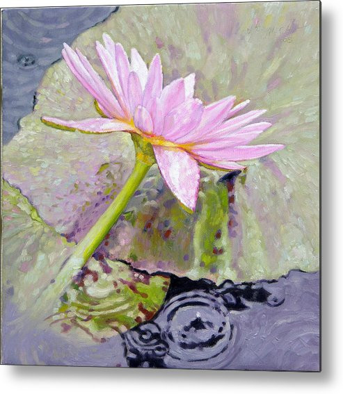 Water Lily Metal Print featuring the painting Pastel Beauty by John Lautermilch