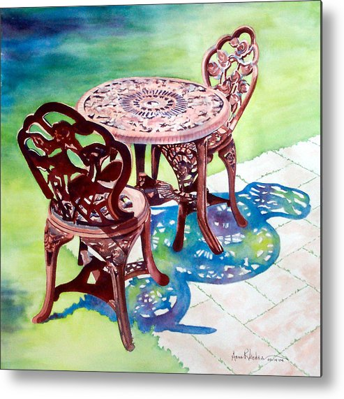 Still Life Metal Print featuring the painting Patio by Anne Rhodes