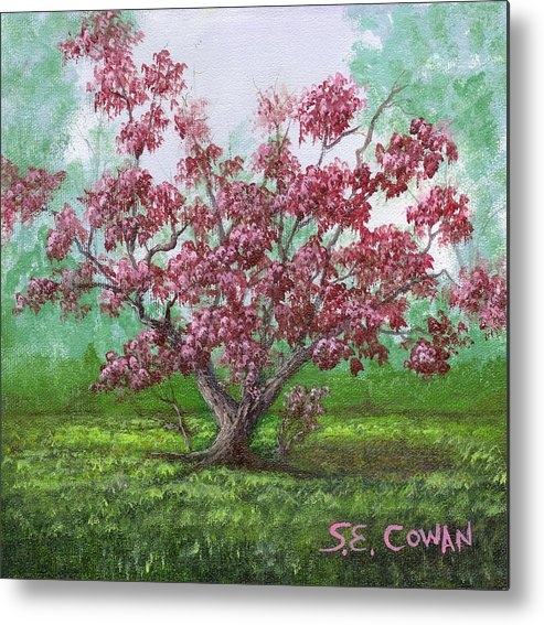 Landscape Metal Print featuring the painting Pink Dogwood by SueEllen Cowan