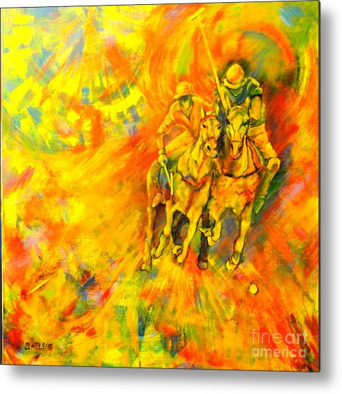 Horses Metal Print featuring the painting Poloplayer by Dagmar Helbig
