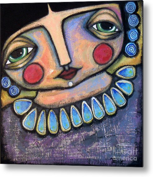 Original Painting Metal Print featuring the painting Pondering In Blues by Trine Stasica