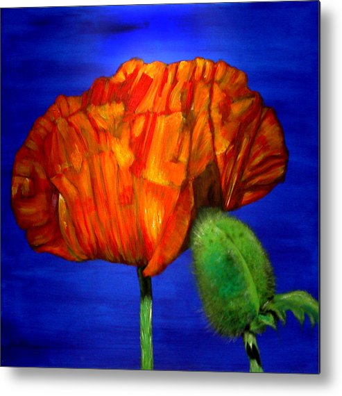 Flower Metal Print featuring the painting Poppy And Bud by Fiona Jack