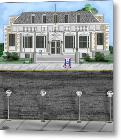 Townscape Metal Print featuring the painting Post Office In Thermopolis by Anne Norskog