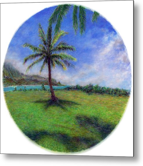 Rainbow Colors Pastel Metal Print featuring the painting Princeville Palm by Kenneth Grzesik