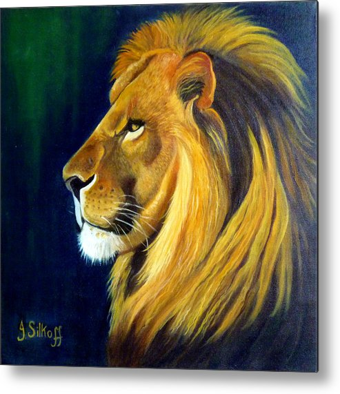 Lion Metal Print featuring the painting Profile Of The King by Janet Silkoff