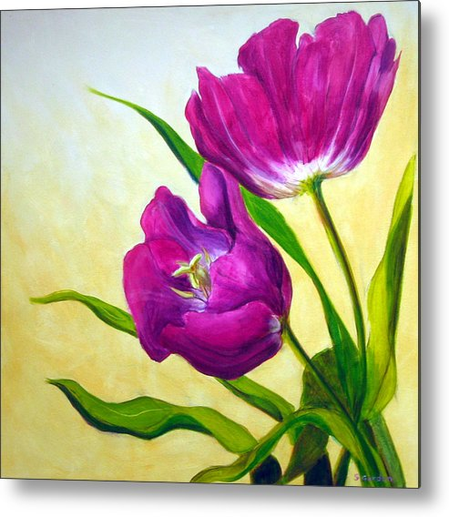 Tulip Metal Print featuring the painting Purple Tulips by Scott Gordon