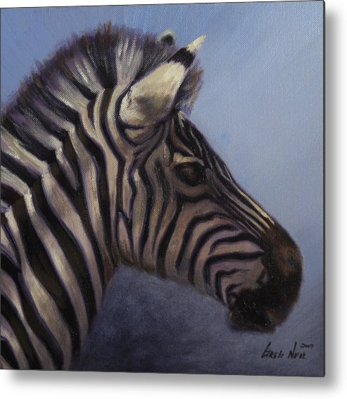 Zebra Metal Print featuring the painting Quiet Profile by Greg Neal