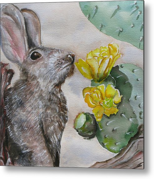 Metal Print featuring the painting Rabbit With Flower by Kathy Mitchell