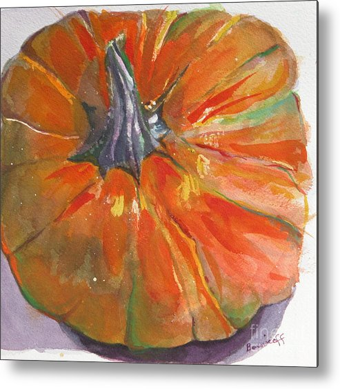 Pumpkin Metal Print featuring the painting Ready For Pie  by Jan Bennicoff