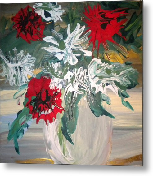 Alzheimer's Metal Print featuring the painting Red And White Flowers By Ralph by Art Without Boundaries