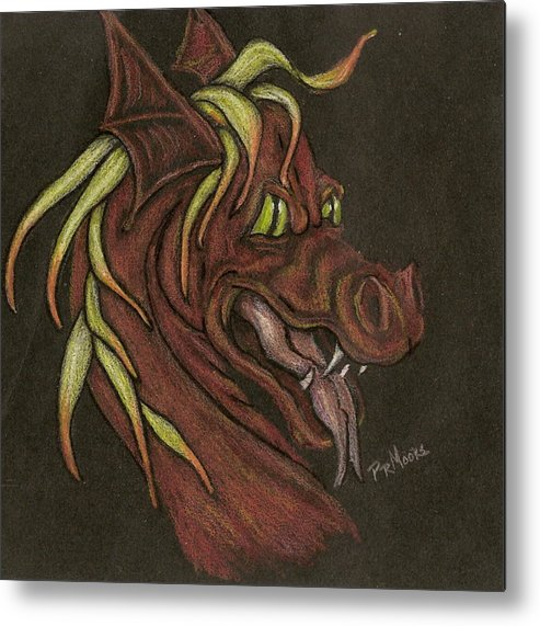 Dragon Metal Print featuring the drawing Red Fire Dragon by Patricia R Moore