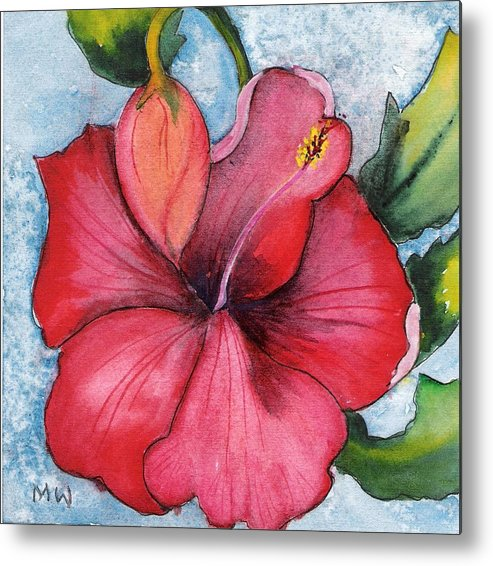 Red Flower Hibiscus Watercolor Painting Floral Metal Print featuring the painting Red Flower by Marsha Woods