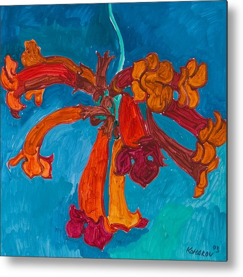 Red Metal Print featuring the painting Red Flowers by Vitali Komarov