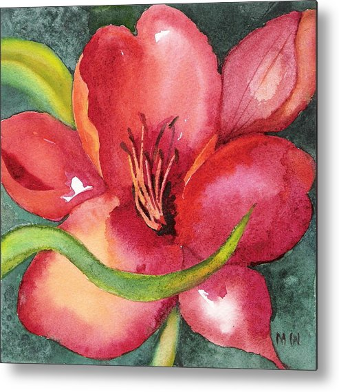 Flower Lily Red Green Garden Floral Watercolor Painting Metal Print featuring the painting Red Lily by Marsha Woods