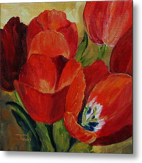 Tulip Metal Print featuring the painting Red Tulips by Torrie Smiley