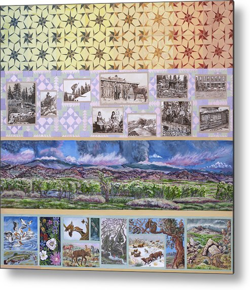 Western Metal Print featuring the painting River Mural Summer Panel Top Half by Dawn Senior-Trask