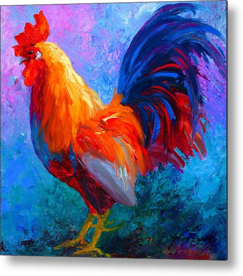 Rooster Metal Print featuring the painting Rooster Bob by Marion Rose