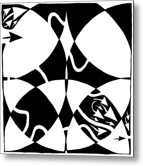 Rorschach Metal Print featuring the drawing Rorschach Maze by Yonatan Frimer Maze Artist