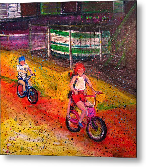 Figurative Metal Print featuring the painting Rosehill by Mary Gallagher-Stout
