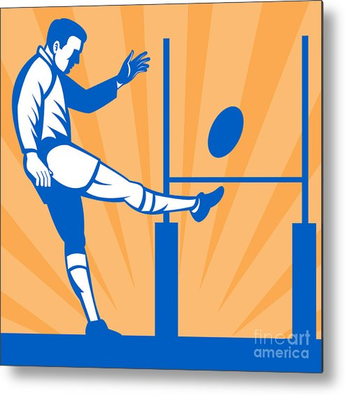 Illustration Metal Print featuring the digital art Rugby Goal Kick by Aloysius Patrimonio