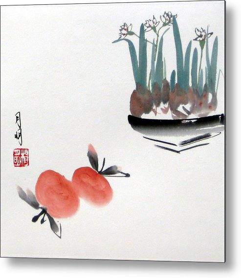 Chinese Painting Metal Print featuring the painting Seasonal Delight by Ming Yeung