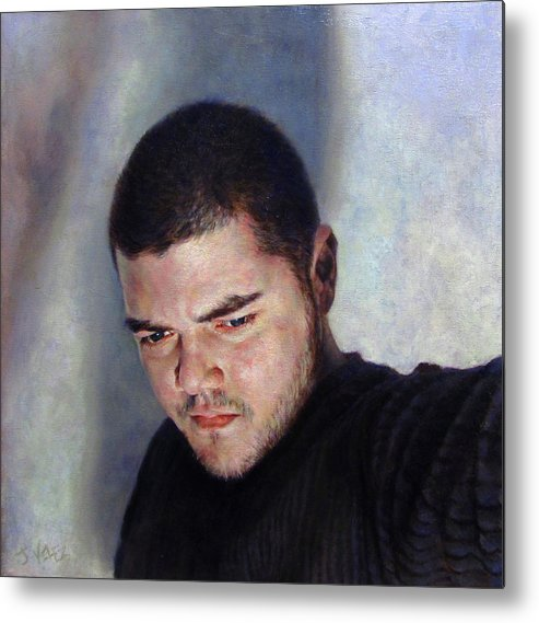 Self Metal Print featuring the painting Self Portrait W Shadows by Joe Velez