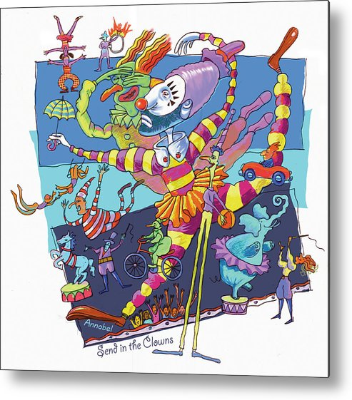 Clowns Metal Print featuring the digital art Send In The Clowns by Annabel Lee