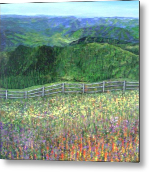 Landscape Calm Country Mountains Metal Print featuring the painting Serenity Now by Sally Van Driest