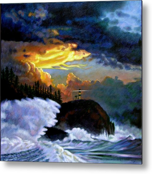 Ocean Metal Print featuring the painting Shelter From The Storm by John Lautermilch