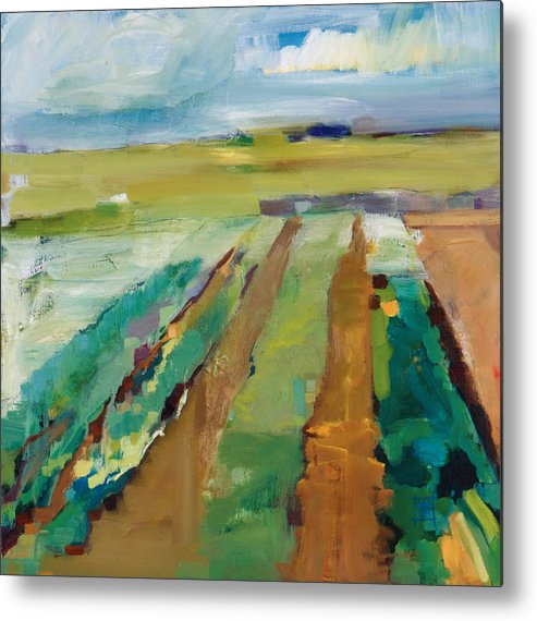 Impressionistic Landscape Metal Print featuring the painting Simple Fields by Michele Norris