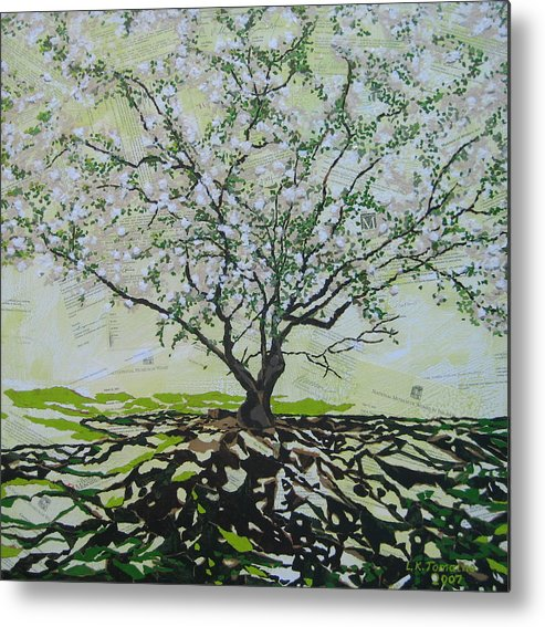 Apple Tree Metal Print featuring the painting Sincerely-the Curator by Leah Tomaino