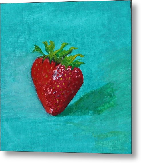 Still Life Metal Print featuring the painting Solo Strawberry by RF Hauver