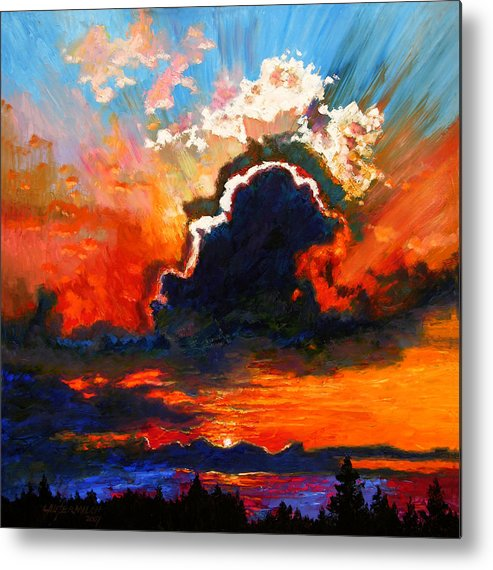 Landscape Metal Print featuring the painting Some Glad Morning by John Lautermilch