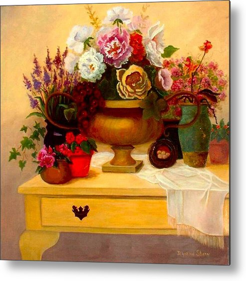 Still Life Metal Print featuring the painting Spring Bouquet by Jeanene Stein