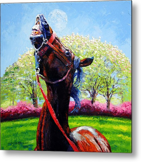 Horse Metal Print featuring the painting Spring Fever by John Lautermilch