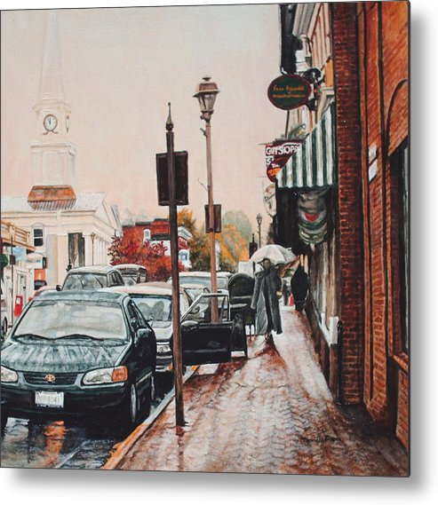 Cityscape Metal Print featuring the painting Spring Rain by Thomas Akers