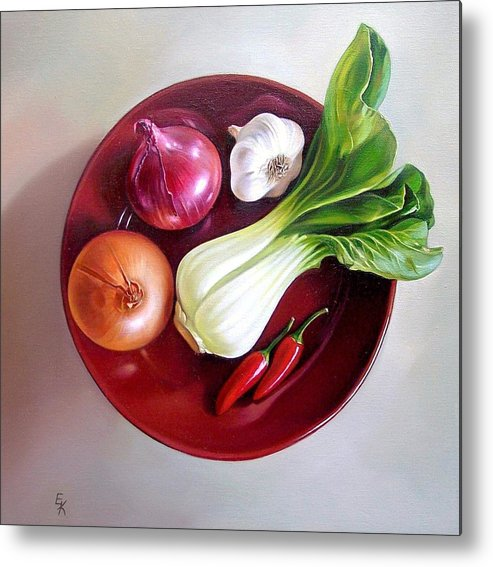 Still Life Metal Print featuring the painting Summer Plate 2 by Elena Kolotusha