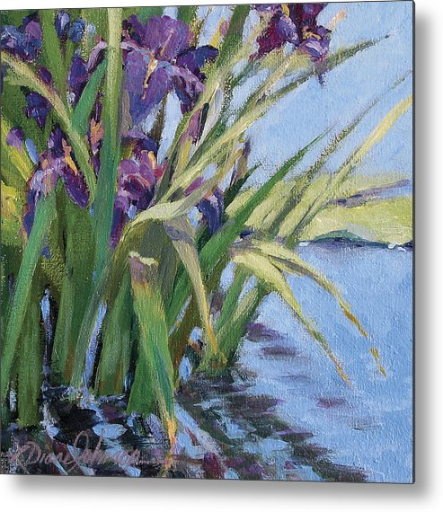 Purple Iris In Water Metal Print featuring the painting Sun Day - Iris In A Pond by L Diane Johnson