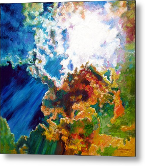 Sunburst Metal Print featuring the painting Sunburst by John Lautermilch