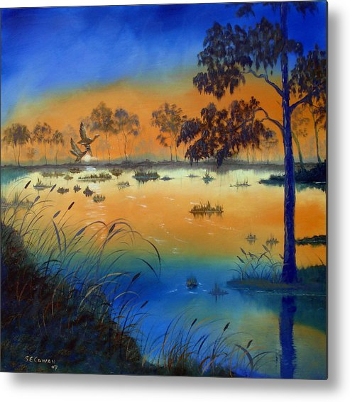 Sunrise Metal Print featuring the painting Sunrise At The Lake by SueEllen Cowan
