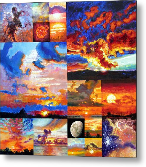 Sunrise Metal Print featuring the painting Sunrise Sunset Sunrise by John Lautermilch