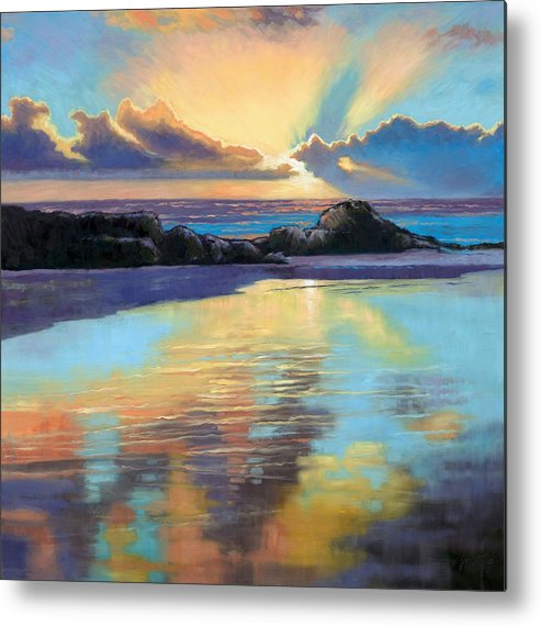 Beach Metal Print featuring the painting Sunset At Havika Beach by Janet King
