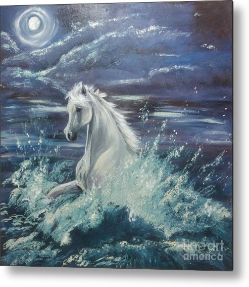 Water Metal Print featuring the painting White Spirit by Abbie Shores