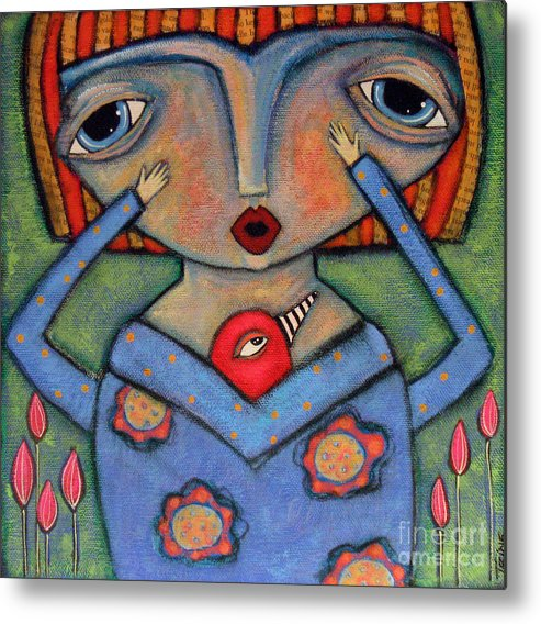 Girl Metal Print featuring the painting Surprise by Trine Stasica