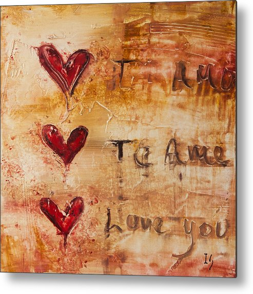 Heart Metal Print featuring the mixed media Te Amo by Ivan Guaderrama