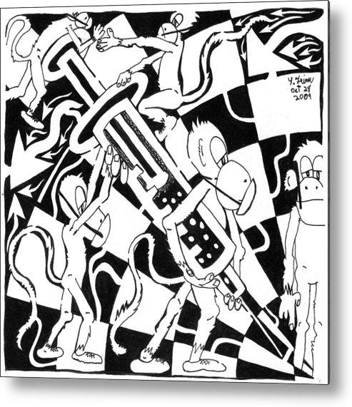 Team Of Monkeys Metal Print featuring the painting Team Of Monkeys Swine Flu H1n1 Vaccine by Yonatan Frimer Maze Artist
